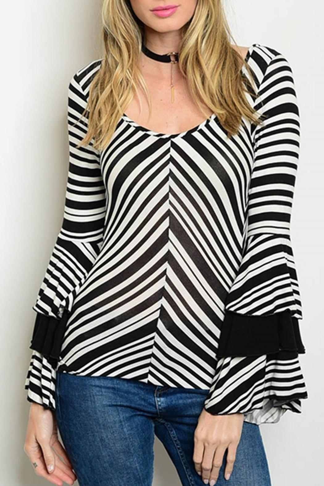 Cheeky Striped Bell-Sleeve Top - Main Image