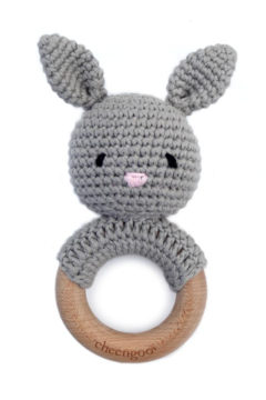 Cheengoo Bunny Cotton/Wood Teething Rattle For Newborn - Alternate List Image