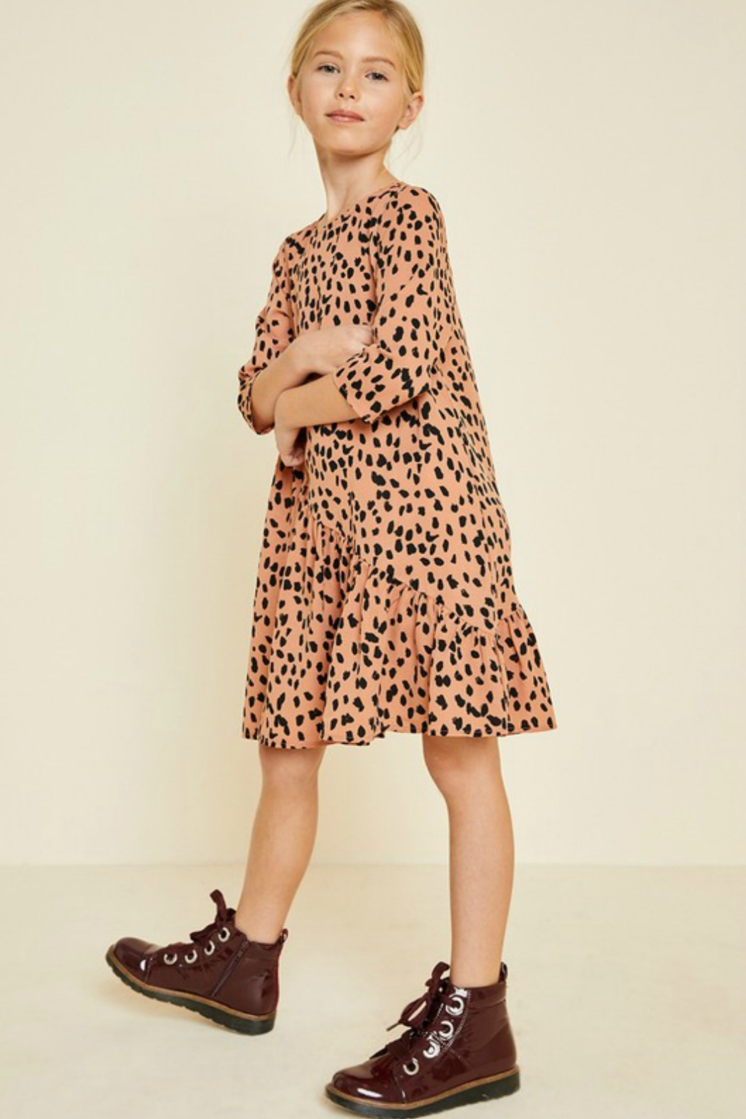 R+D emporium  Cheetah Blush Dress - Side Cropped Image