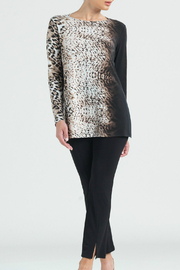 Clara Sunwoo Cheetah Ombre Cut-out Back Knit Tunic - Front cropped