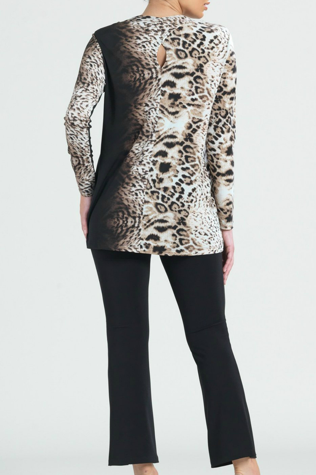 Clara Sunwoo Cheetah Ombre Cut-out Back Knit Tunic - Side Cropped Image