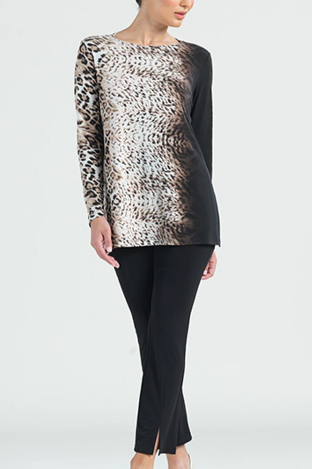 Clara Sunwoo Cheetah Ombre Cut-out Back Knit Tunic - Front Cropped Image