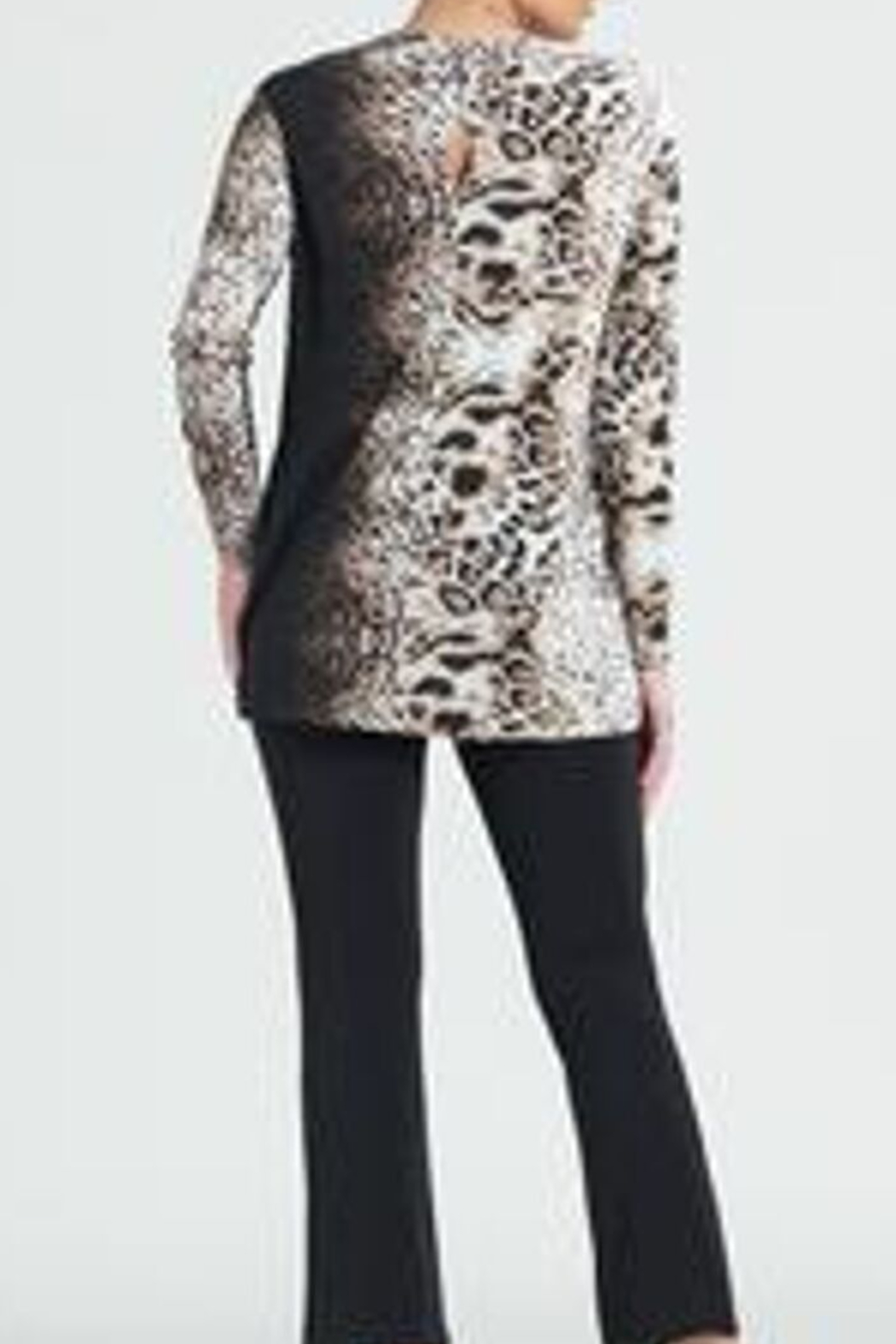 Clara Sunwoo Cheetah Ombre Cut-out Back Knit Tunic - Front Full Image