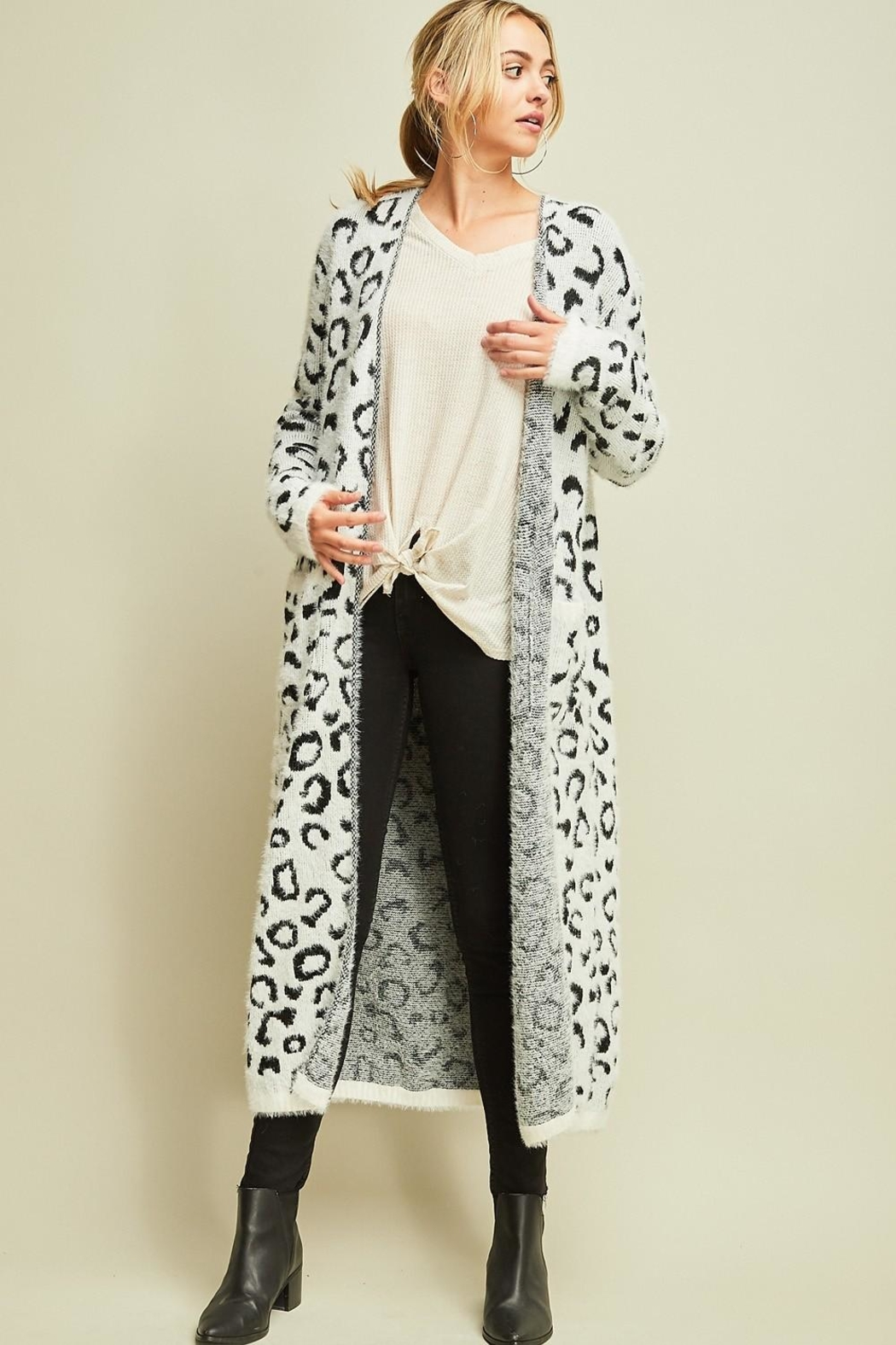 Entro Cheetah Print Cardigan - Front Cropped Image