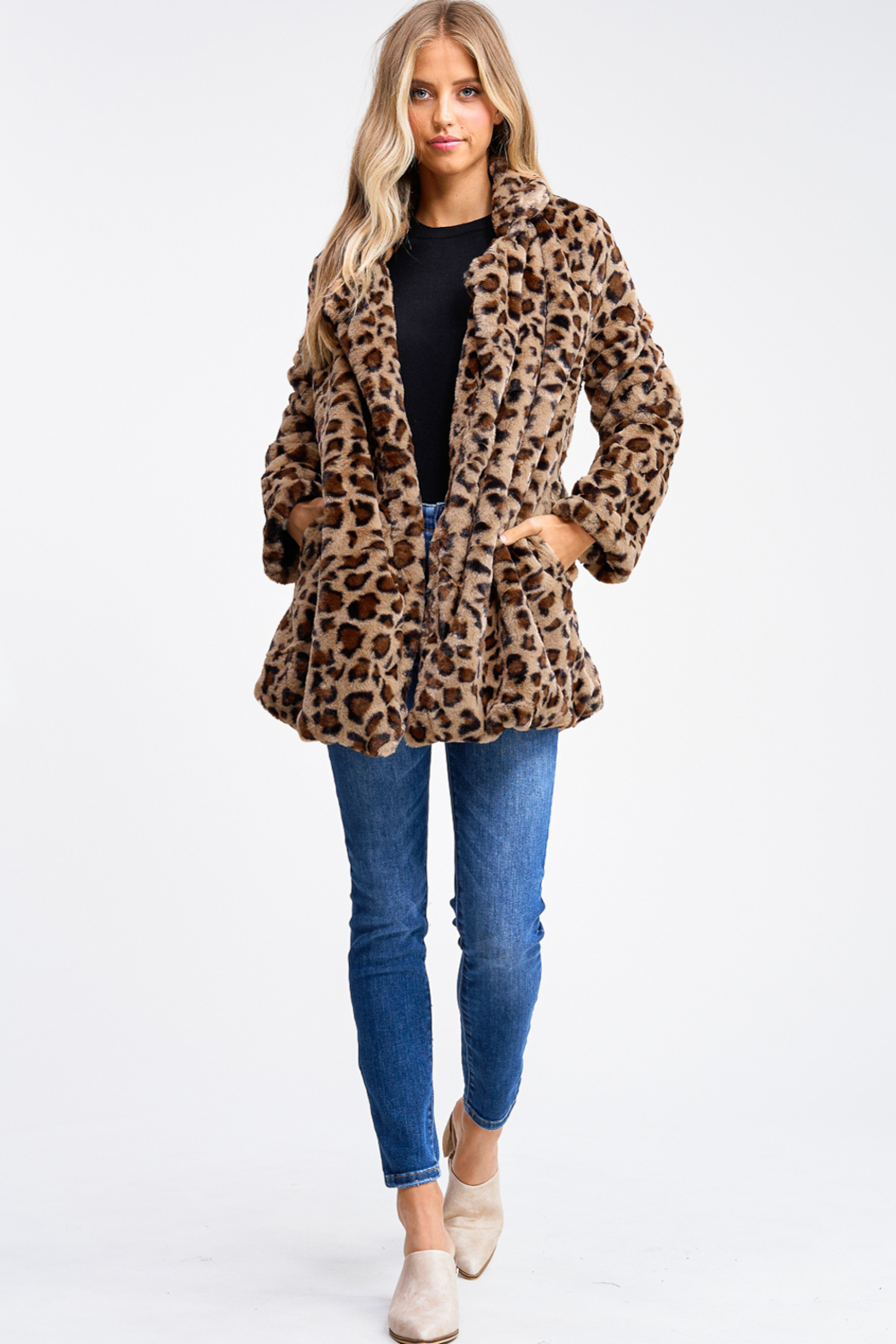 MONTREZ CHEETAH PRINT FAUX FUR COAT - Front Full Image