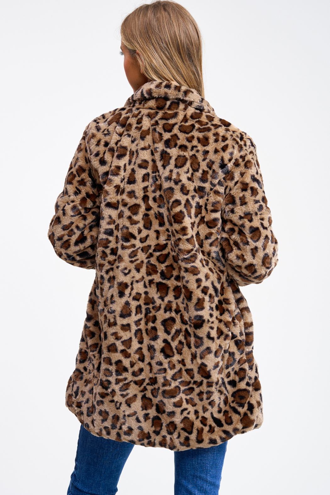 MONTREZ CHEETAH PRINT FAUX FUR COAT - Back Cropped Image