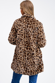 MONTREZ CHEETAH PRINT FAUX FUR COAT - Back cropped
