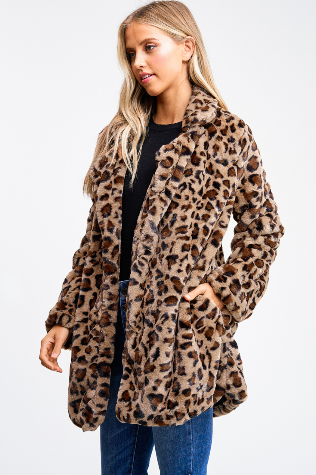 MONTREZ CHEETAH PRINT FAUX FUR COAT - Side Cropped Image