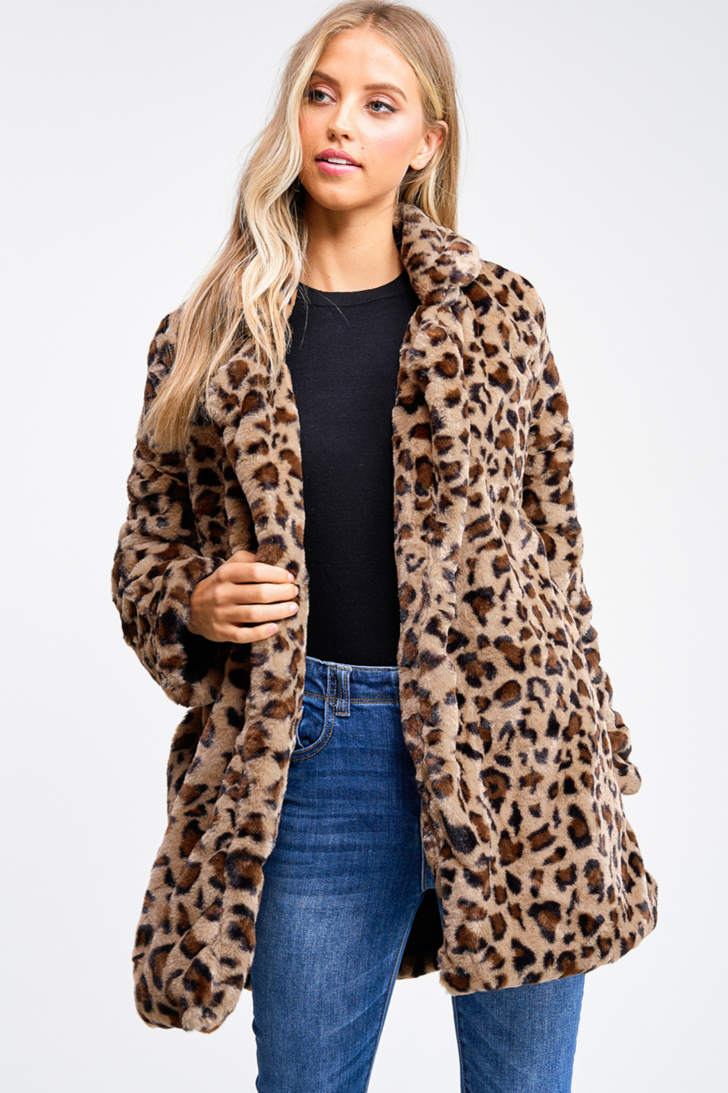 MONTREZ CHEETAH PRINT FAUX FUR COAT - Main Image