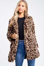 MONTREZ CHEETAH PRINT FAUX FUR COAT - Front cropped