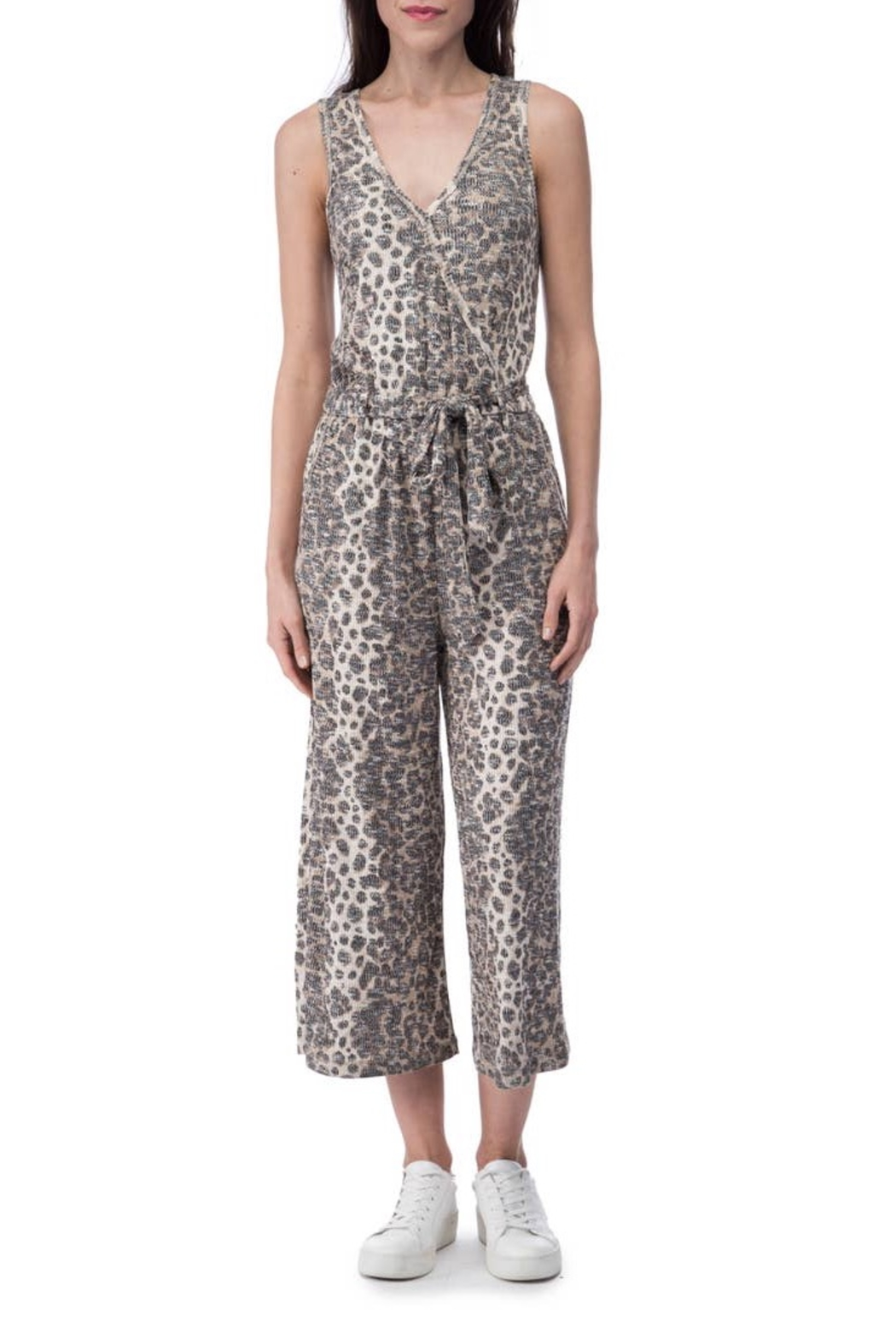 B Collection by Bobeau Cheetah Ribbed Jumpsuit - Main Image