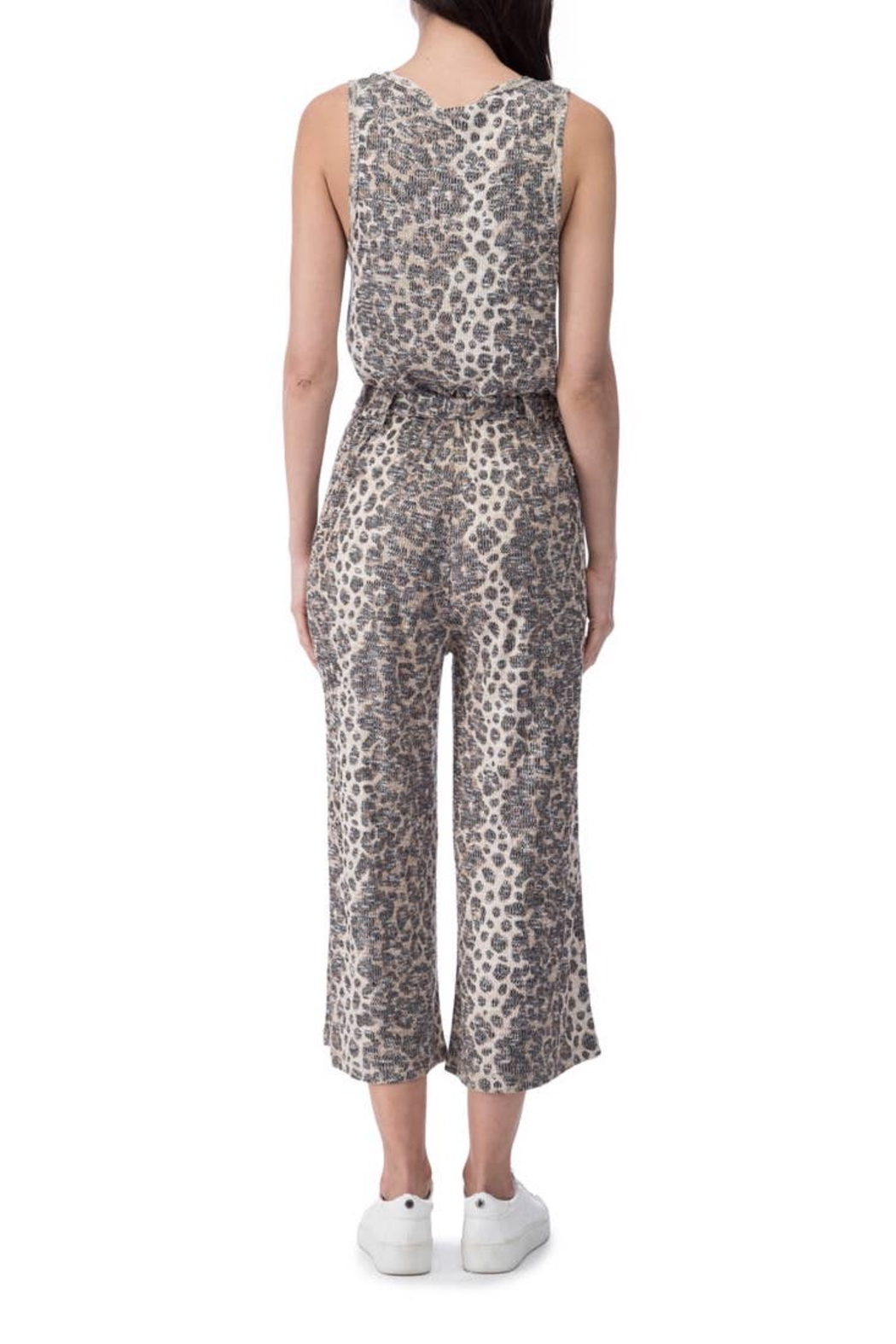 B Collection by Bobeau Cheetah Ribbed Jumpsuit - Front Full Image