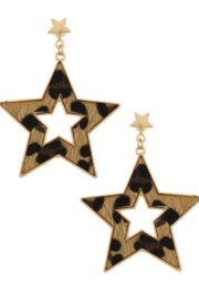 Bluebell Cheetah Star Earrings - Product Mini Image