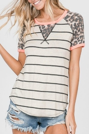 7th Ray Cheetah Striped Top - Front cropped