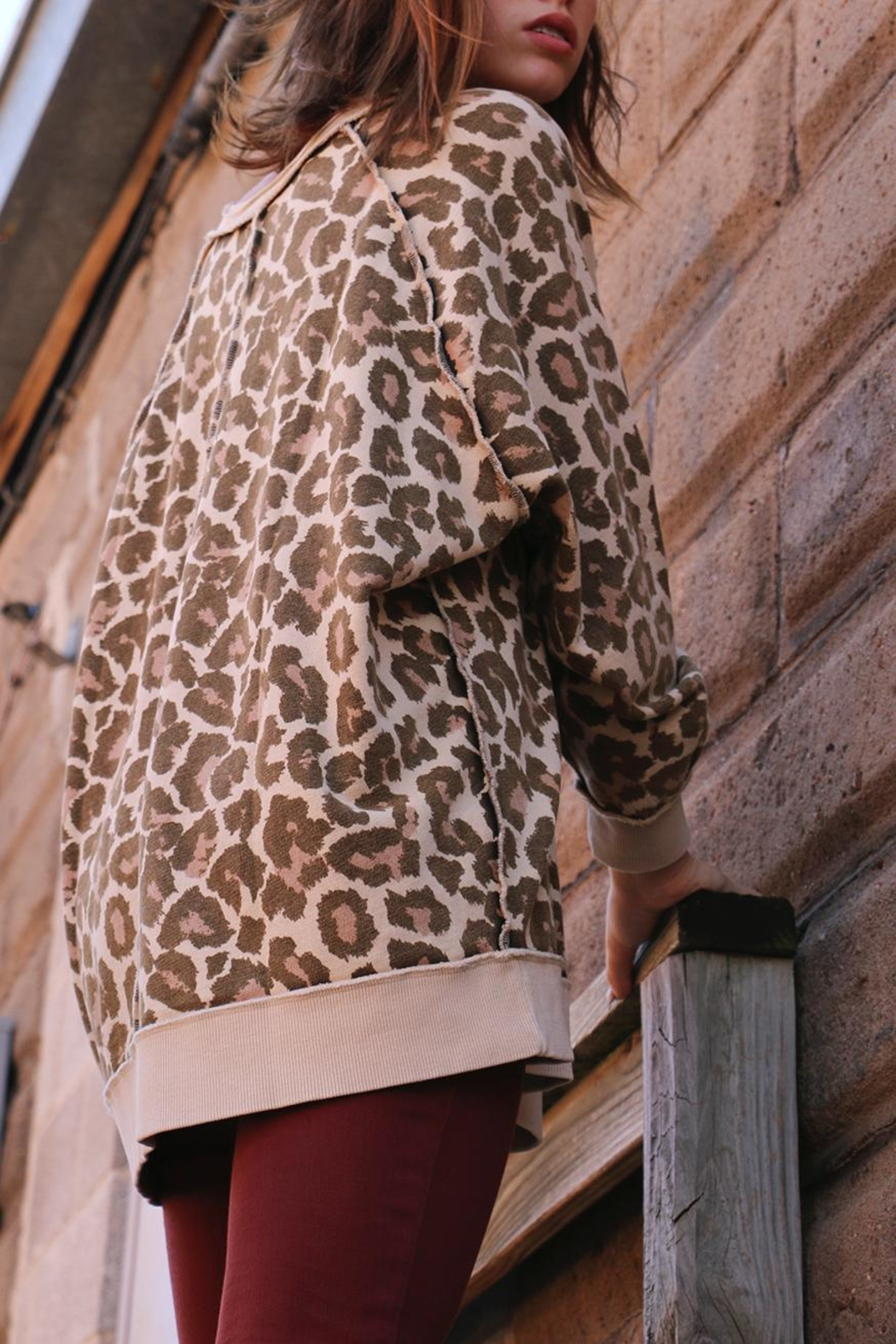 Free People Cheetah Sweater - Front Full Image