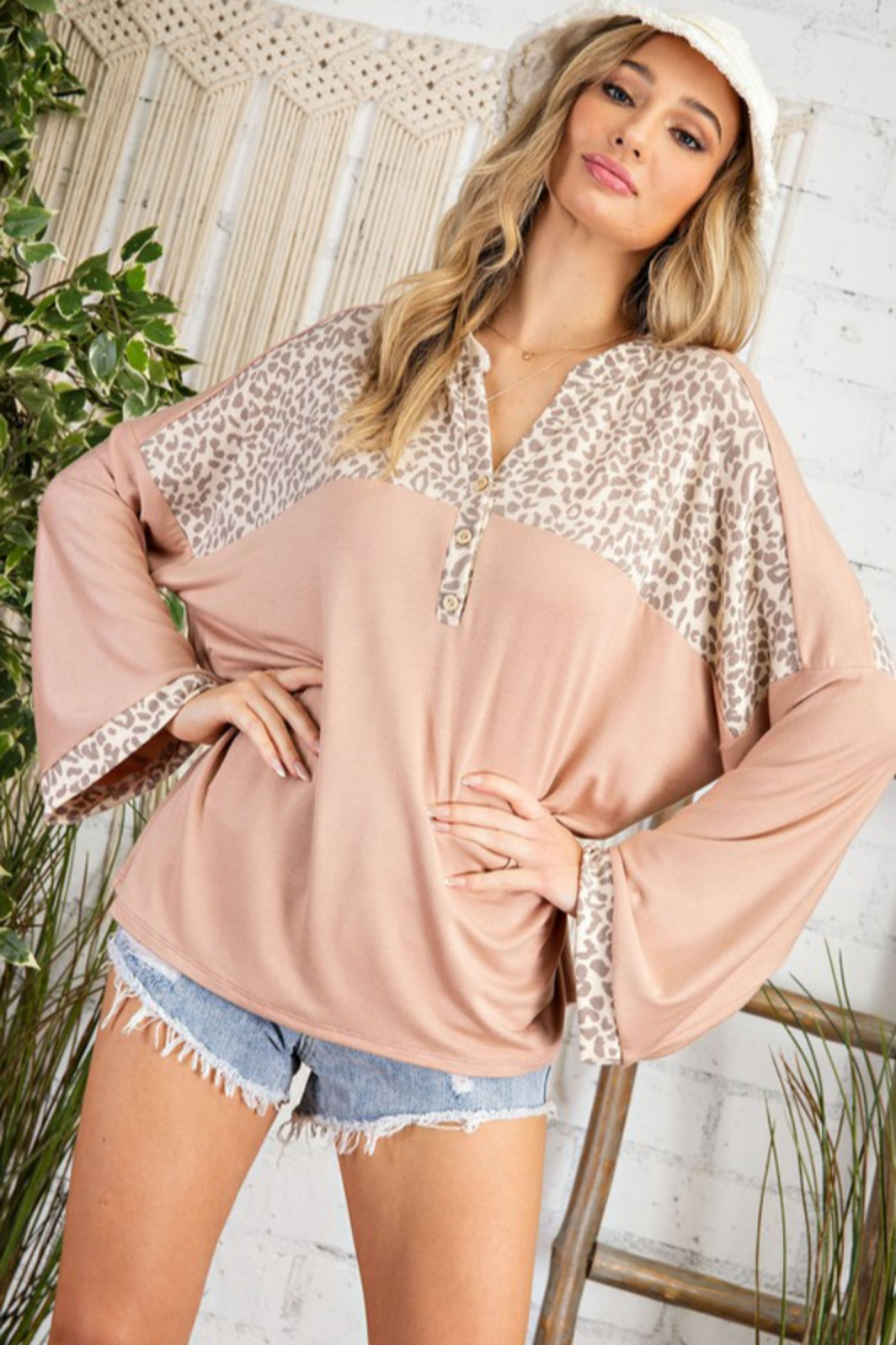 143 Story Cheetah Yoke Wide Sleeve Top - Front Cropped Image