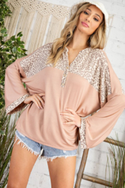 143 Story Cheetah Yoke Wide Sleeve Top - Front cropped
