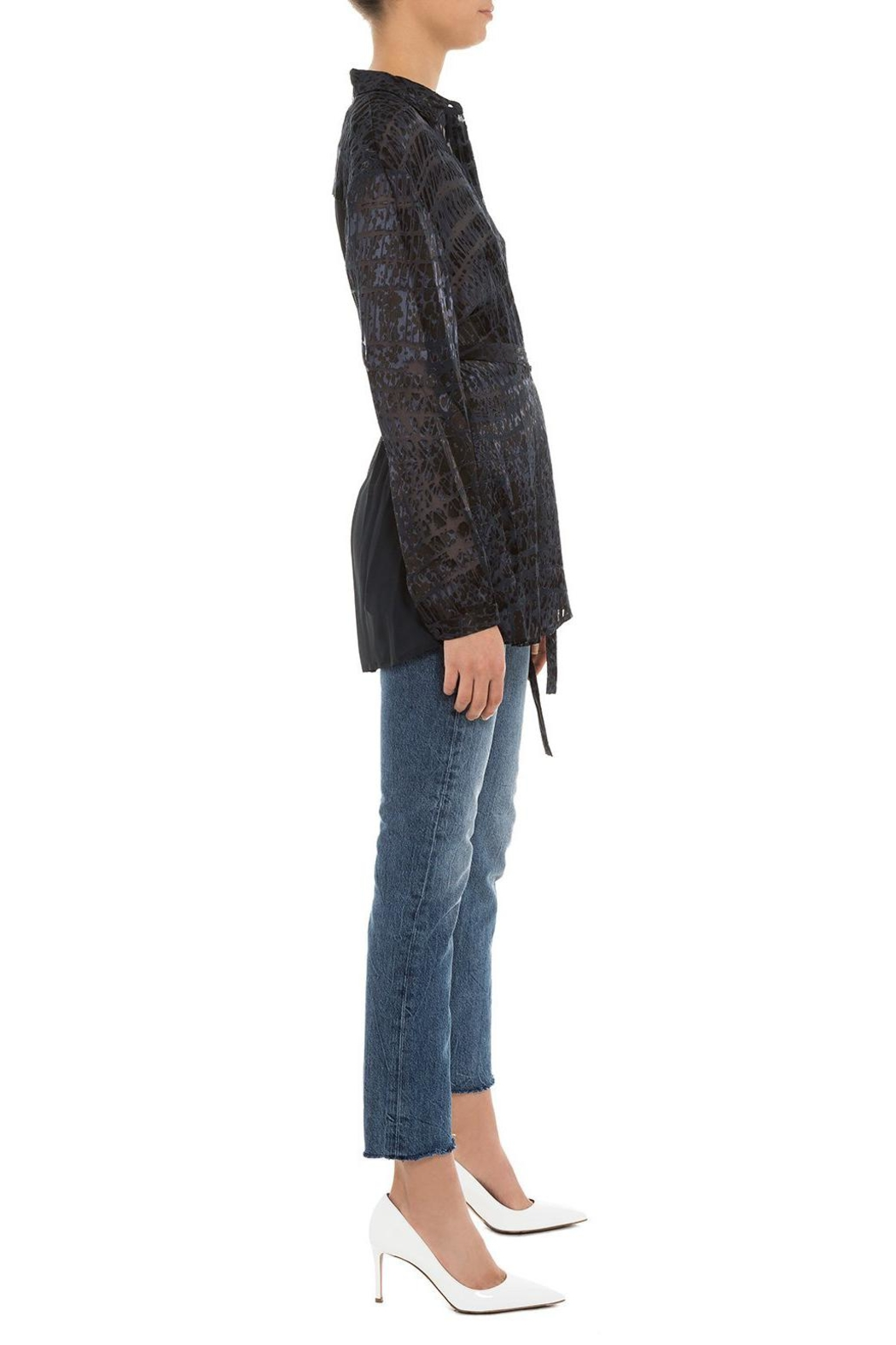 Chelsea and Walker  Ivy Burnout Wrapblouse - Side Cropped Image