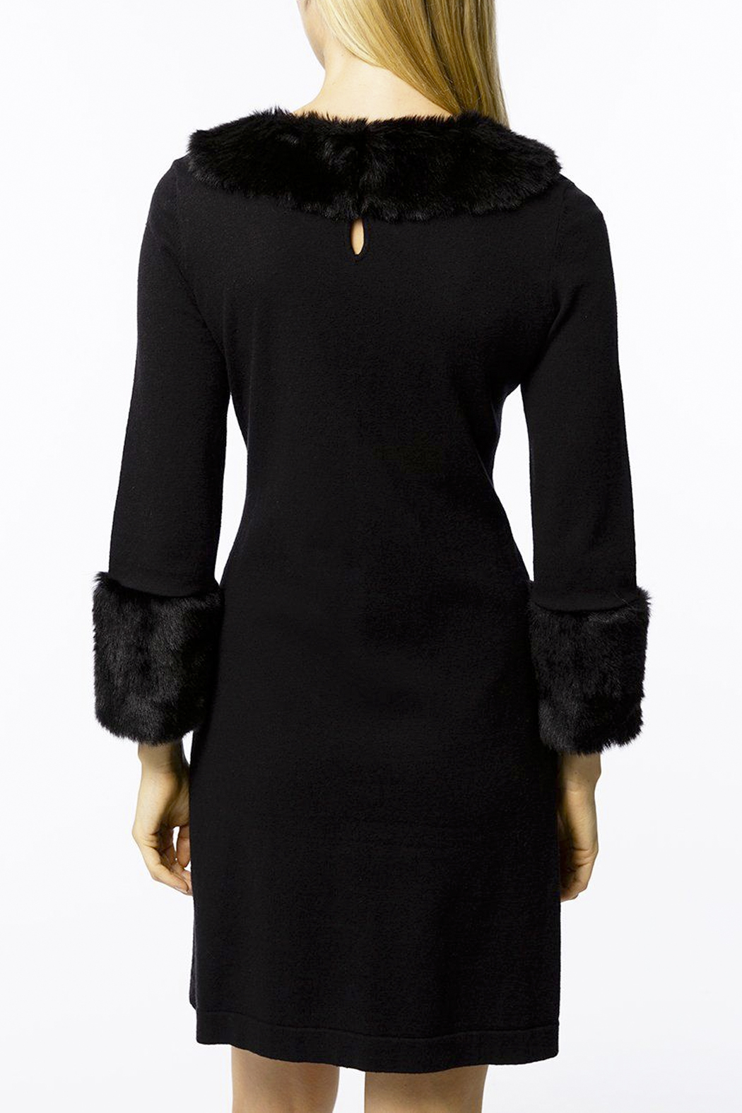 Tyler Boe Chelsey Cotton/Cashmere Dress with Faux Fur - Front Full Image