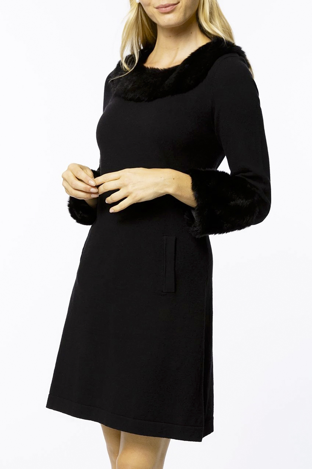 Tyler Boe Chelsey Cotton/Cashmere Dress with Faux Fur - Main Image