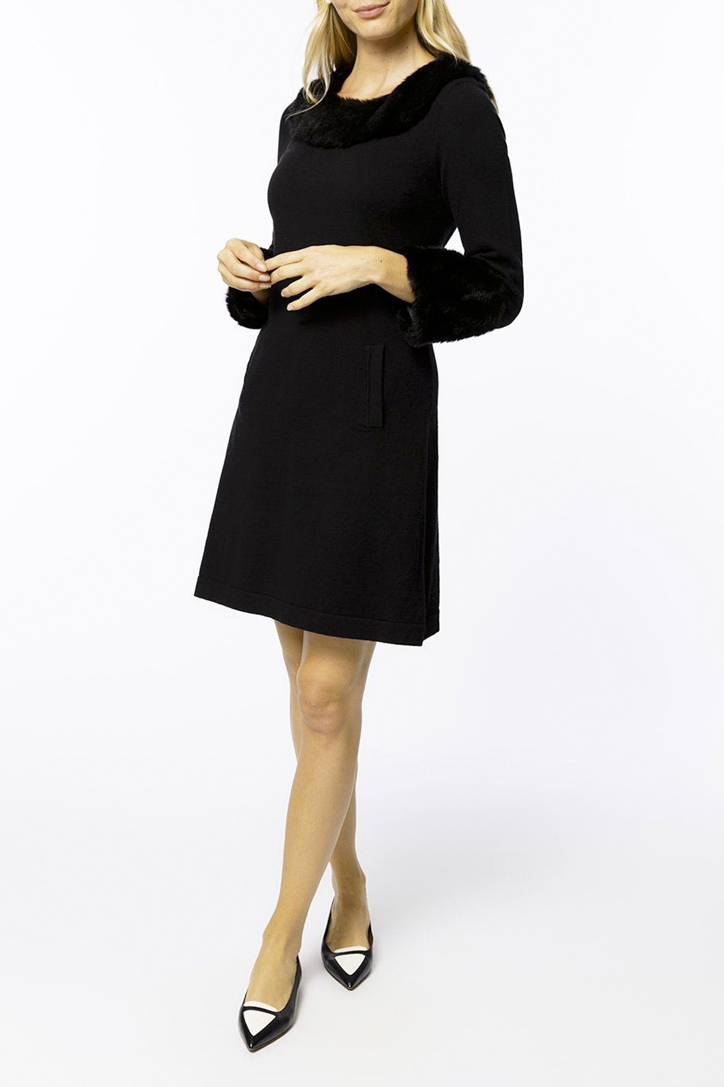 Tyler Boe Chelsey Cotton/Cashmere Dress with Faux Fur - Side Cropped Image
