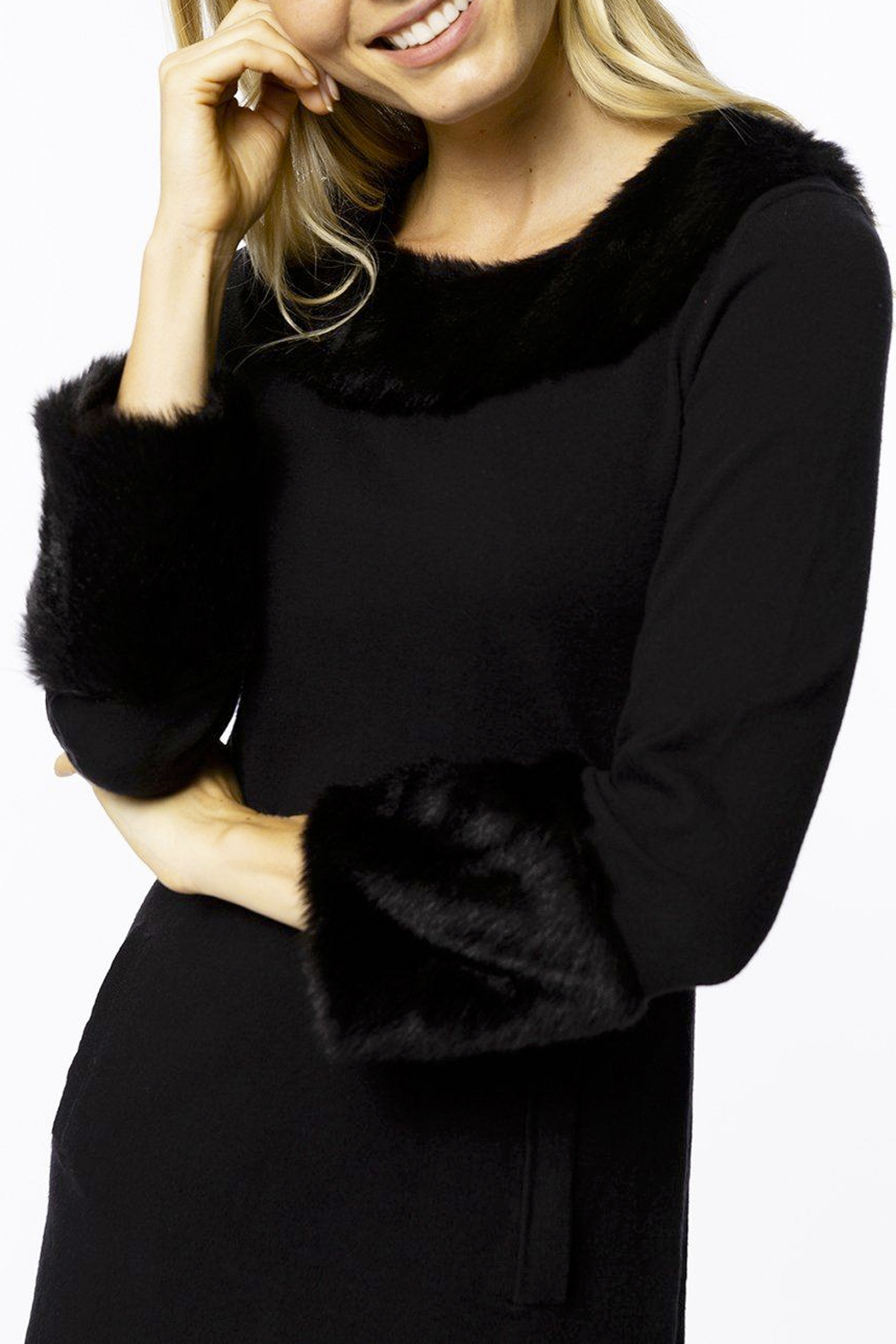 Tyler Boe Chelsey Cotton/Cashmere Dress with Faux Fur - Back Cropped Image