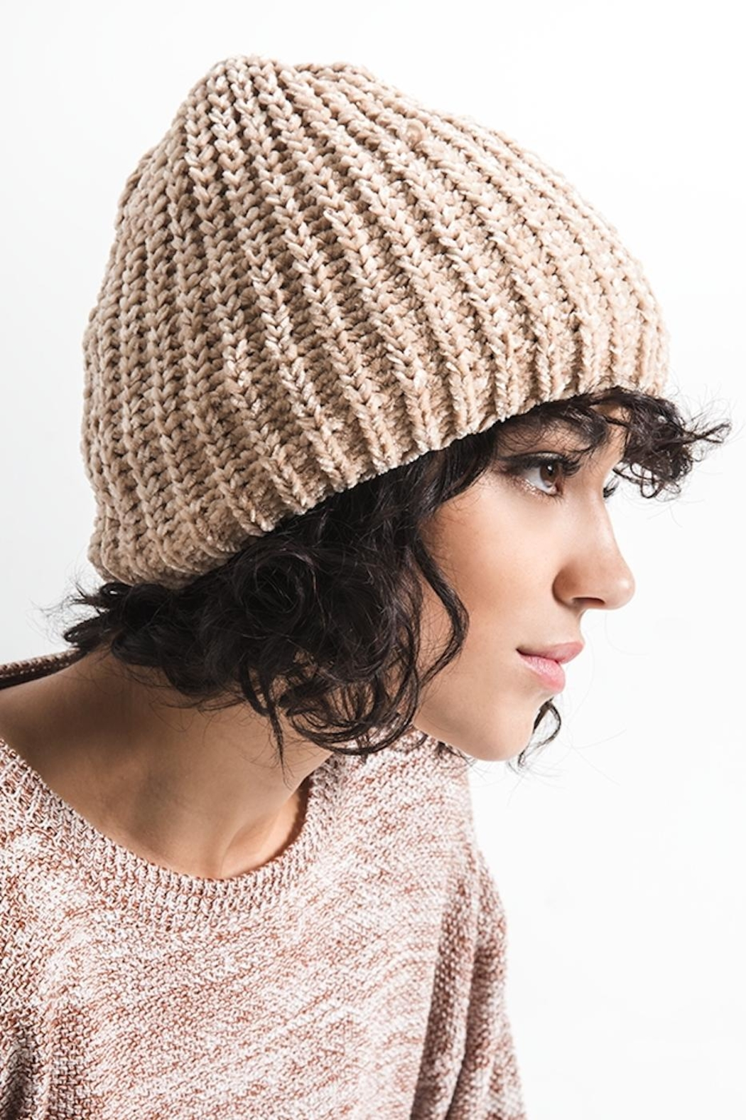 rag poets Chenille Beanie - Front Cropped Image