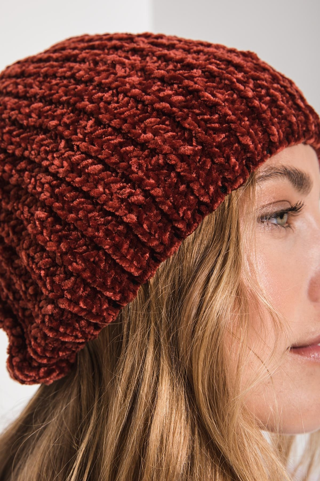 rag poets Chenille Beanie - Side Cropped Image