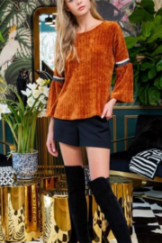 THML  Chenille Bell Sleeve Top - Product Mini Image
