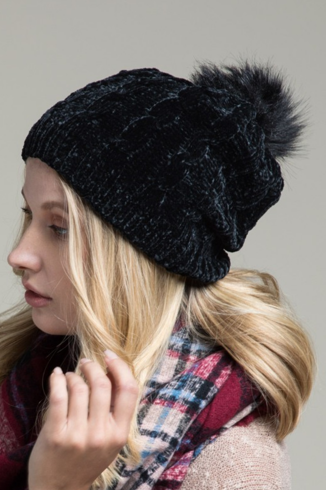 Urbanista Chenille Cable Knit Hat - Front Cropped Image