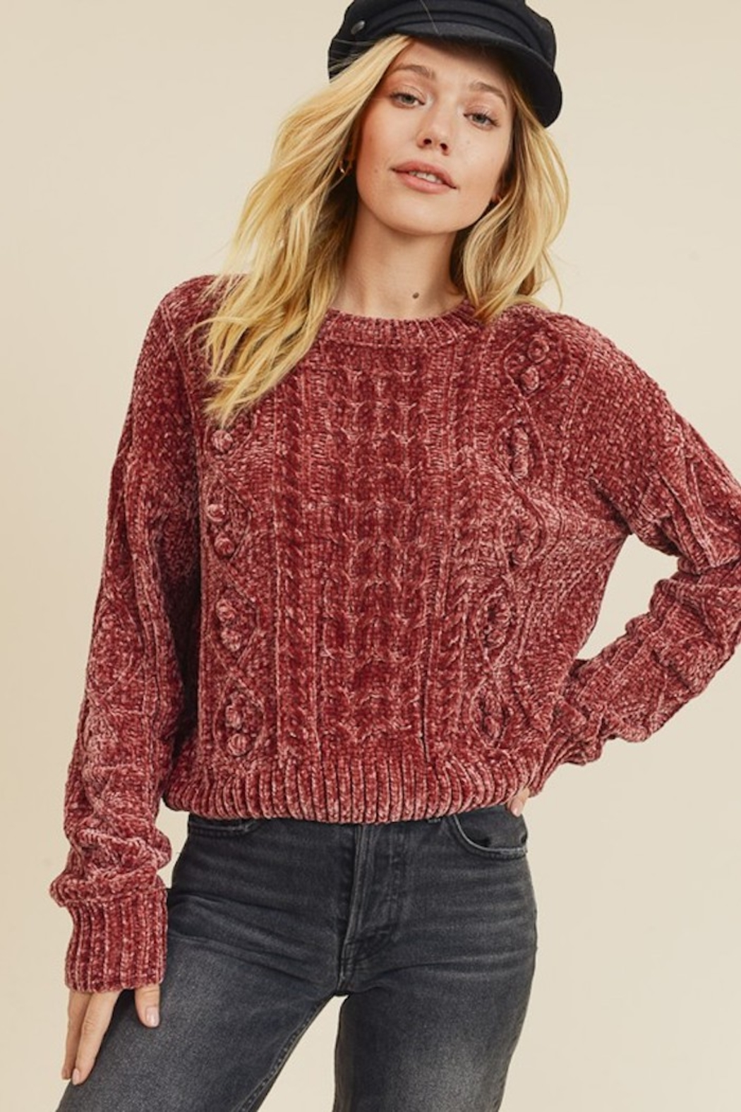 In Loom CHENILLE CABLE KNIT SWEATER - Main Image