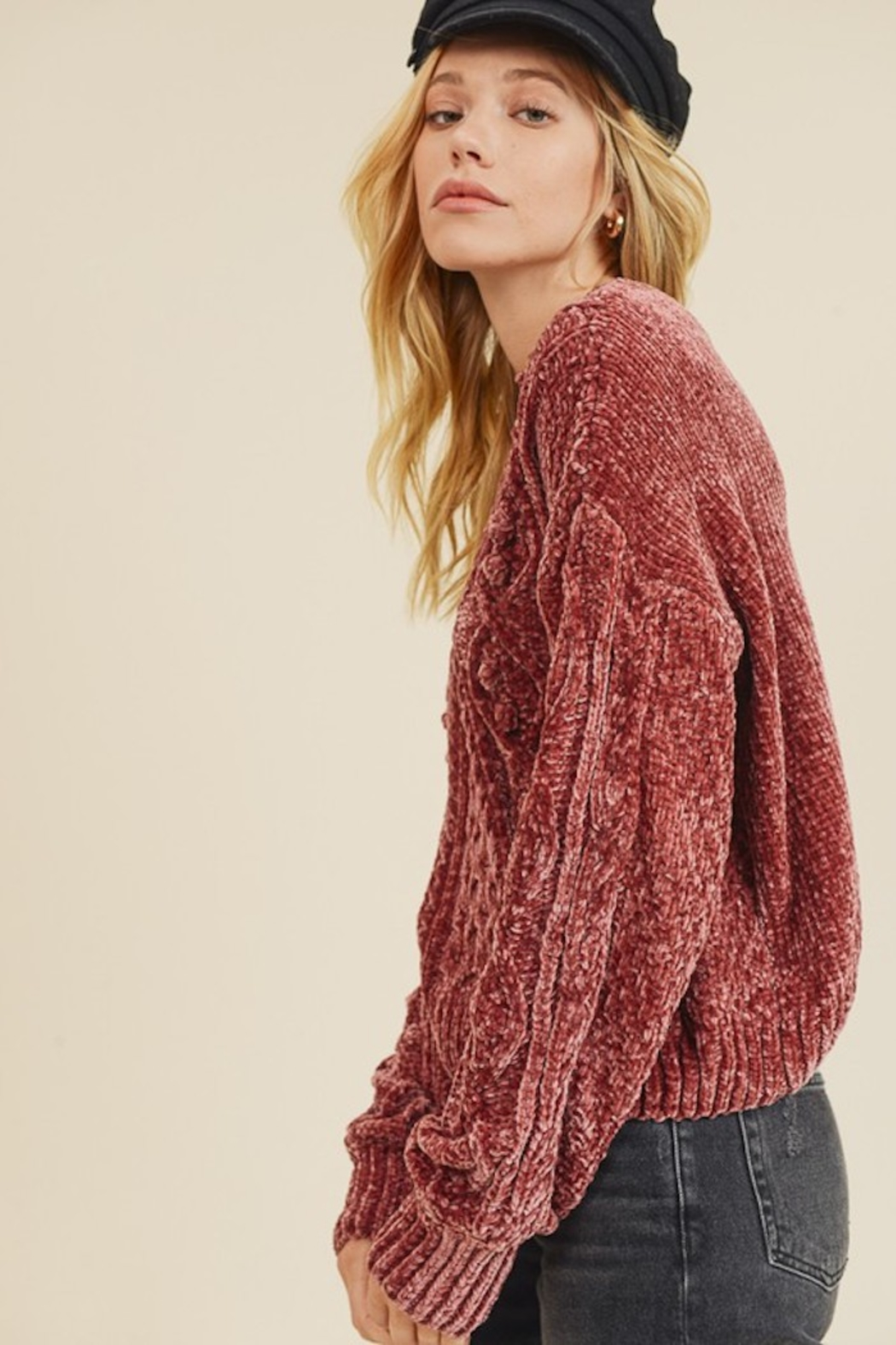 In Loom CHENILLE CABLE KNIT SWEATER - Side Cropped Image