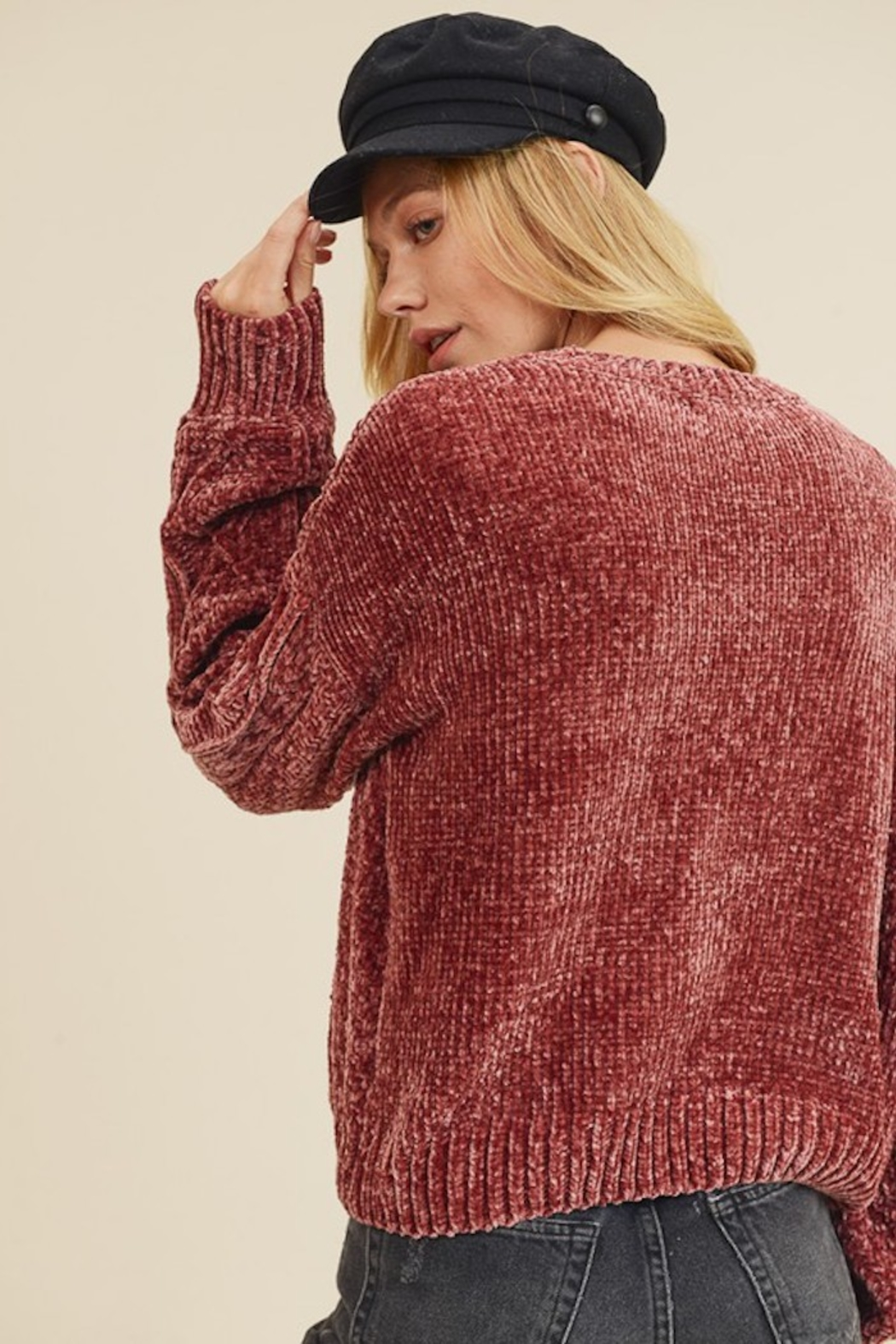 In Loom CHENILLE CABLE KNIT SWEATER - Front Full Image