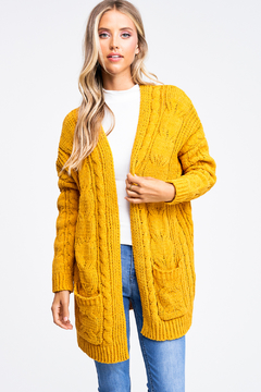 MONTREZ Chenille Chunky Cable Knit Cardigan - Product List Image