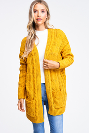 MONTREZ Chenille Chunky Cable Knit Cardigan - Product Mini Image