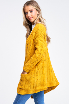 MONTREZ Chenille Chunky Cable Knit Cardigan - Alternate List Image
