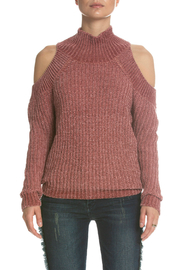Elan Chenille Cold Shoulder T-Neck Sweater - Product Mini Image