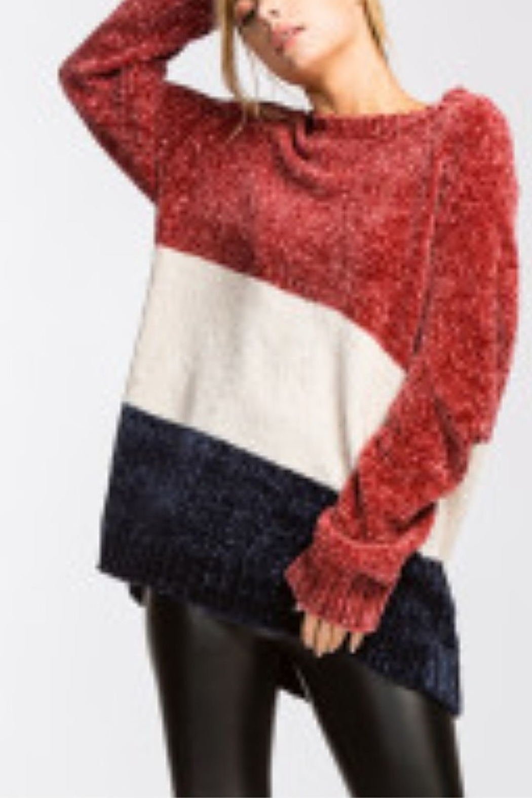 Lyn -Maree's Chenille Colorblock Sweater Top - Main Image