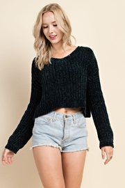 Blushing Heart Chenille Cropped Sweater - Product Mini Image