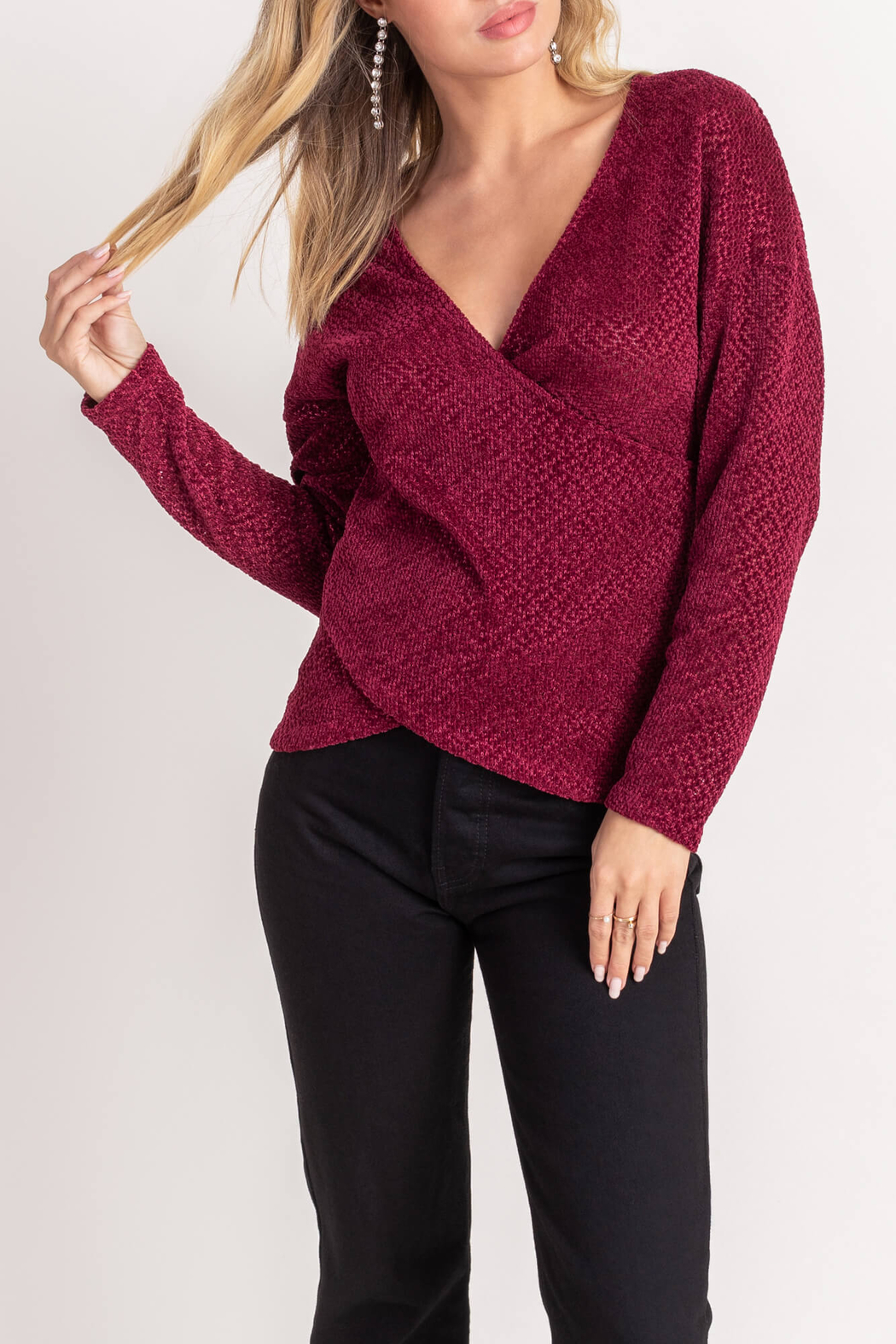 Lush  Chenille Cross Front Sweater - Front Cropped Image