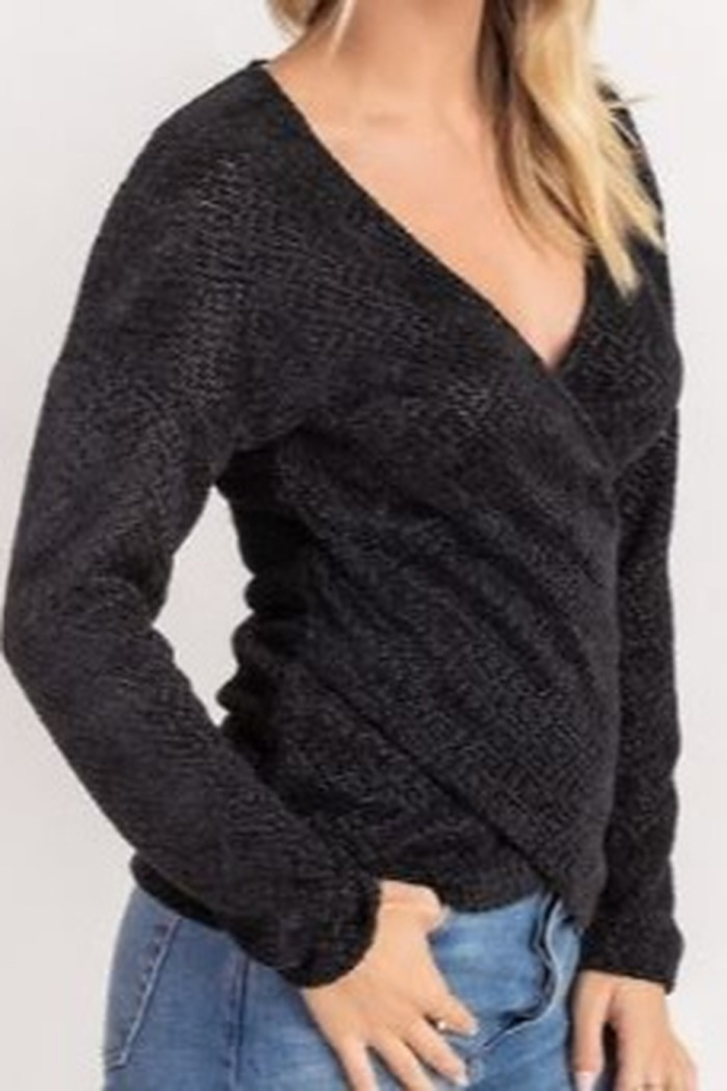 Lush  Chenille Cross Front Sweater - Side Cropped Image