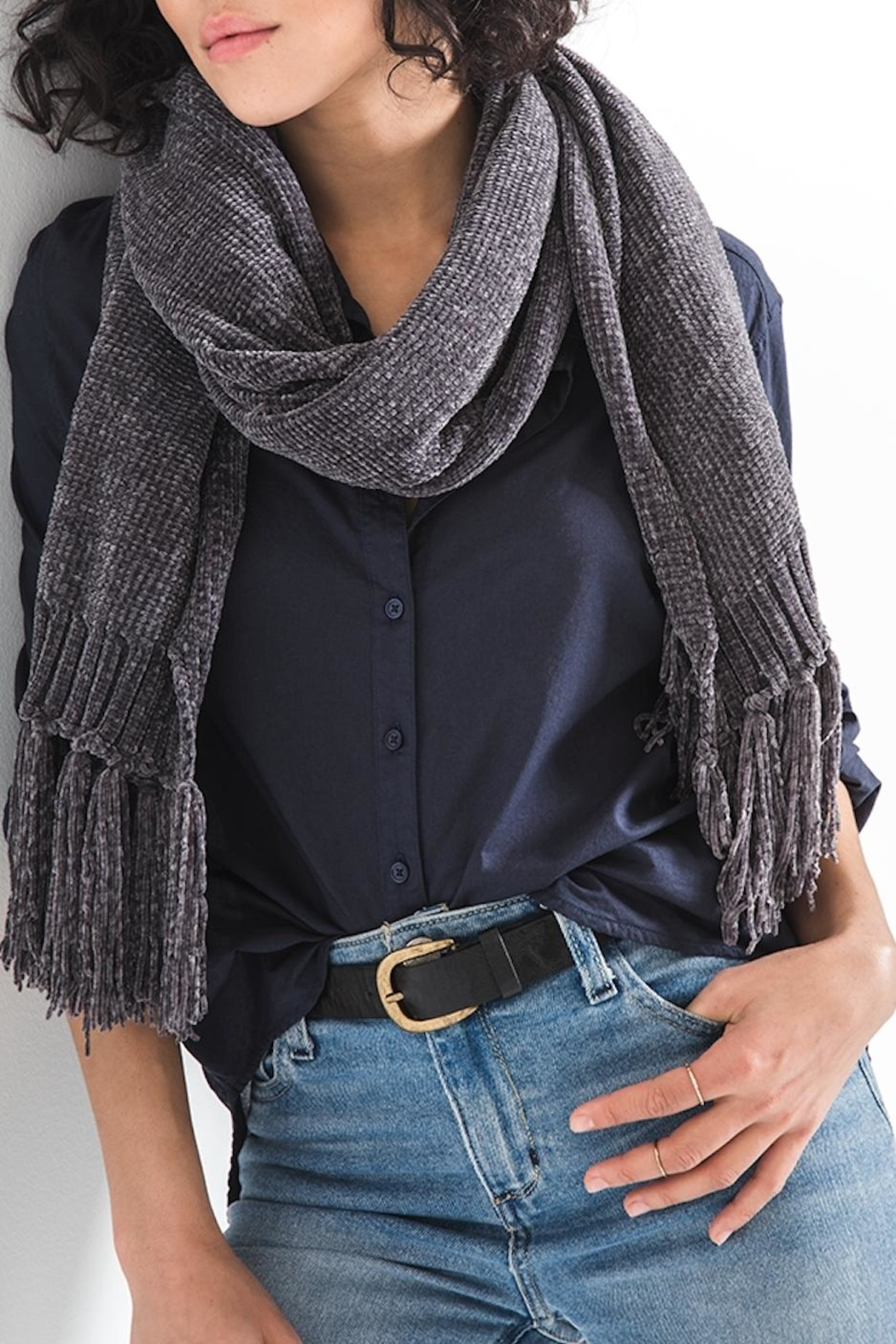 rag poets Chenille Fringe Scarf - Front Cropped Image