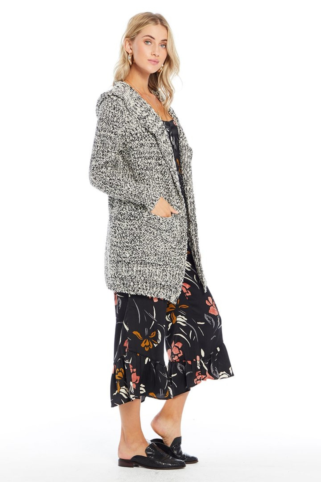 Saltwater Luxe Chenille Hooded Cardigan - Front Full Image