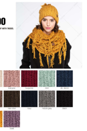 C.C Chenille Infinity Scarf Featuring Fringe Tassels - Front full body