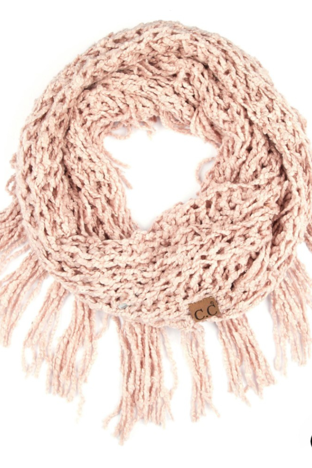 C.C Chenille Infinity Scarf Featuring Fringe Tassels - Front Cropped Image