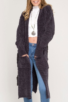 She + Sky Chenille Lace-Up Cardigan - Product List Image