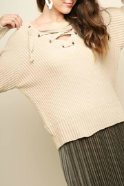 Umgee USA Chenille Lace-Up Sweater - Product Mini Image