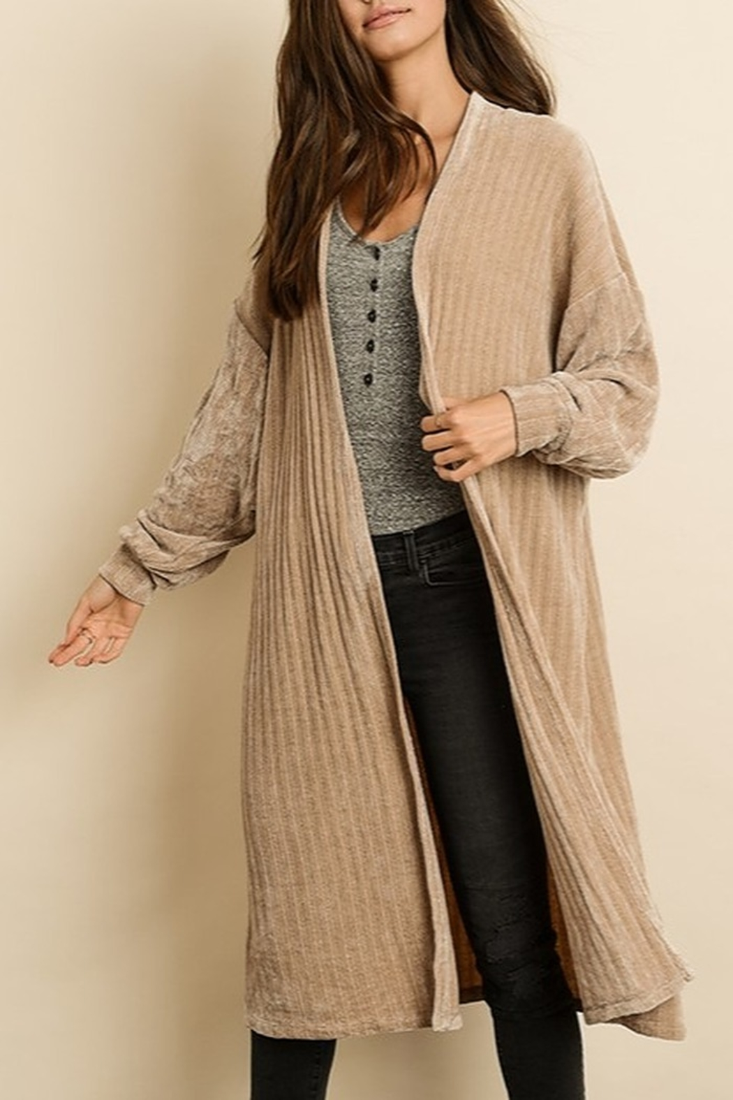 Dress Forum  Chenille Long Cardigan - Front Cropped Image