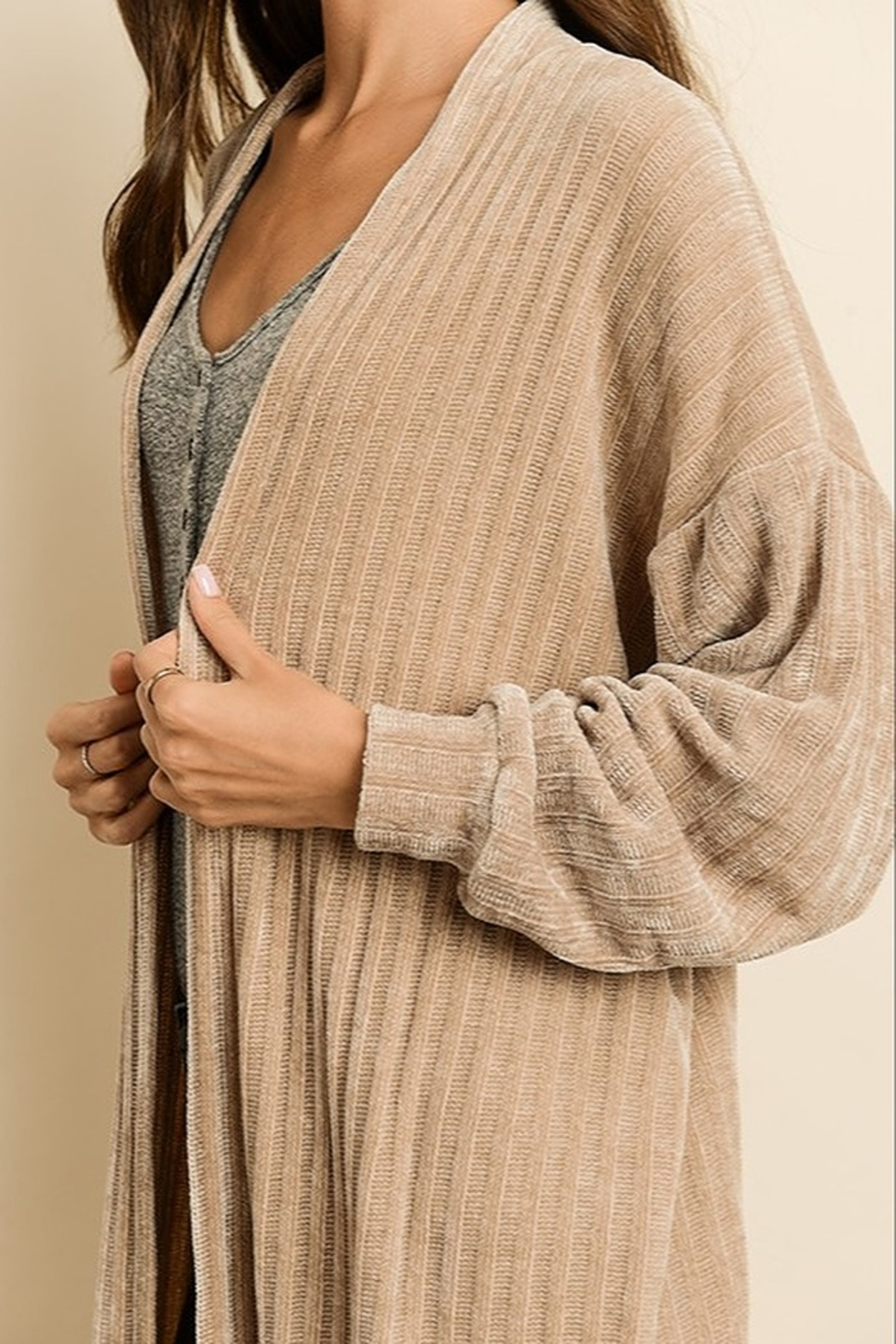 Dress Forum  Chenille Long Cardigan - Back Cropped Image