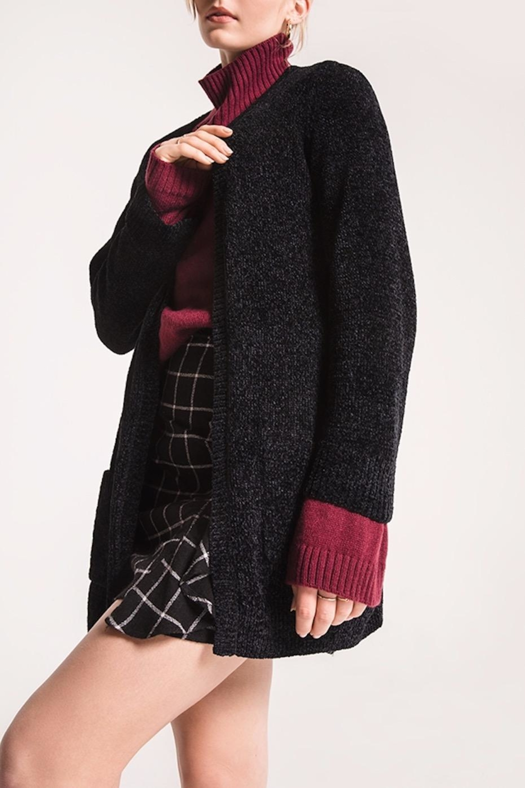 rag poets Chenille Open Cardigan - Side Cropped Image